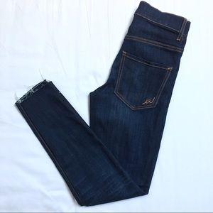 NEW Express Dark Cropped High Rise Jeans Raw Hem
